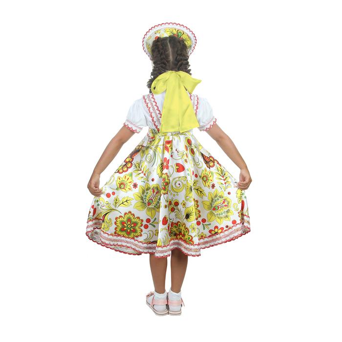 """Русский народный костюм """"Хохлома"""", платье, кокошник, цвет белый, р-р 32, рост 122-128 см"""