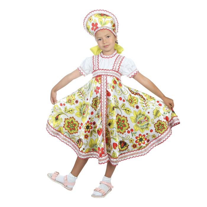 """Русский народный костюм """"Хохлома"""", платье, кокошник, цвет белый, р-р 34, рост 134 см"""