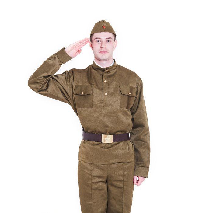 Комплект военный мужской, пилотка, гимнастёрка, ремень с бляхой, р. 46-48, рост 170-180 см