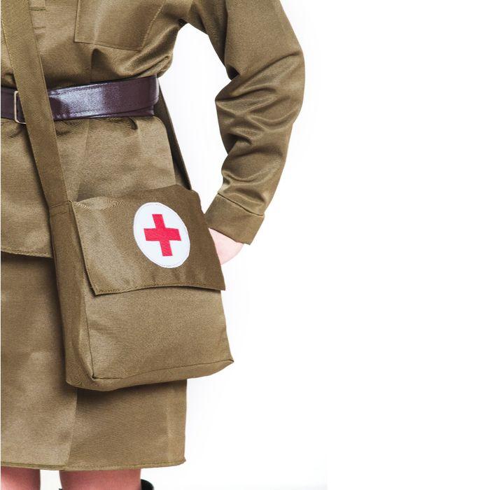 Костюм военный «Санитарочка», пилотка, гимнастёрка, ремень, юбка, сумка, р. 44-46, рост 164 см