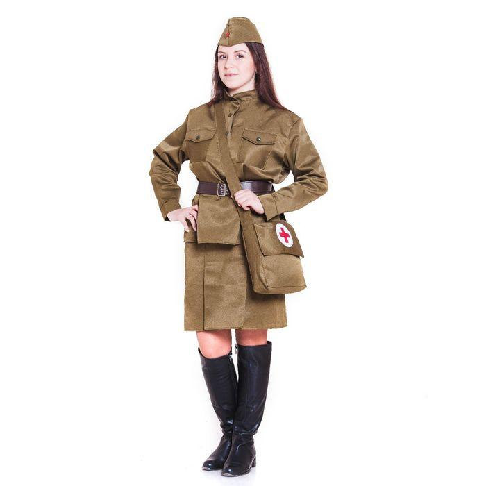 Костюм военный «Санитарочка», пилотка, гимнастёрка, ремень, юбка, сумка, р. 48-50, рост 170 см