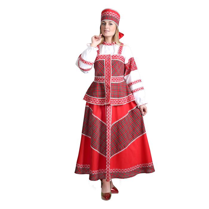 """Русский народный костюм """"Душечка"""", блузка с душегреей, юбка, головной убор, р-р 48, рост 172 см"""