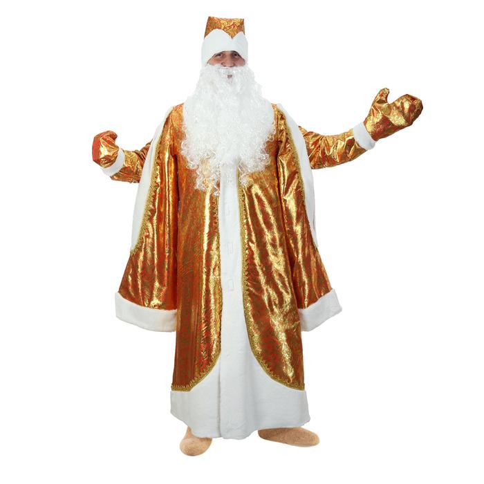"""Карнавальный костюм """"Дед Мороз"""", парча, золото на красном, р-р 48-50, рост 182 см"""