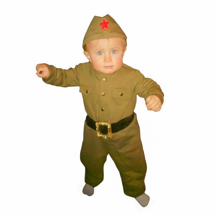 Костюм военного детский: комбинезон, пилотка, трикотаж, хлопок 100 %, рост 68 см, 1-2 года