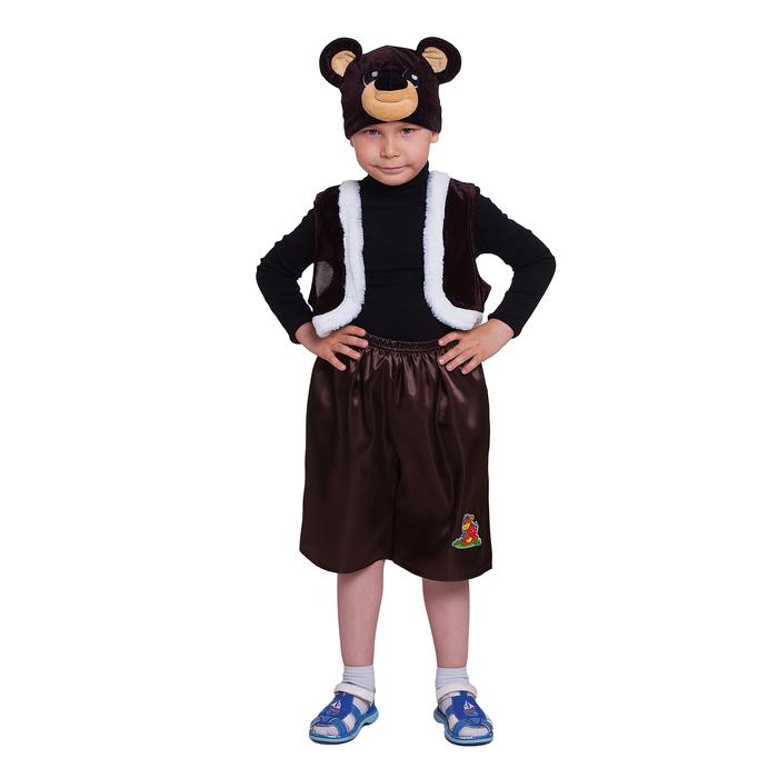 """Карнавальный костюм """"Медвежонок"""", шапка, жилет, штаны, р-р 28, рост 98-104 см"""