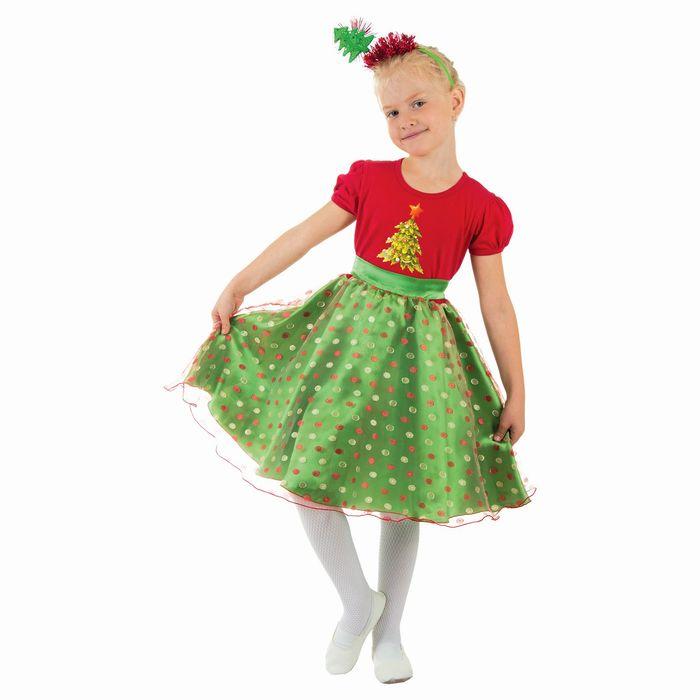 """Карнавальный костюм """"Ёлочка в горошек"""", платье, ободок, р-р 30, рост 116 см"""