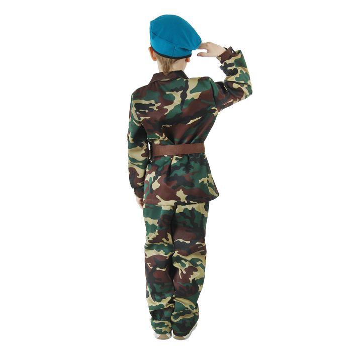"""Карнавальный костюм """"ВДВ"""", китель с манишкой, брюки, берет, ремень, рост 110 см"""