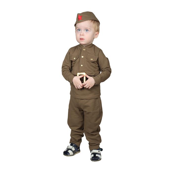 Костюм военного для мальчика: гимнастёрка, галифе, пилотка, трикотаж, хлопок 100%, рост 98 см, 1,5-3 года