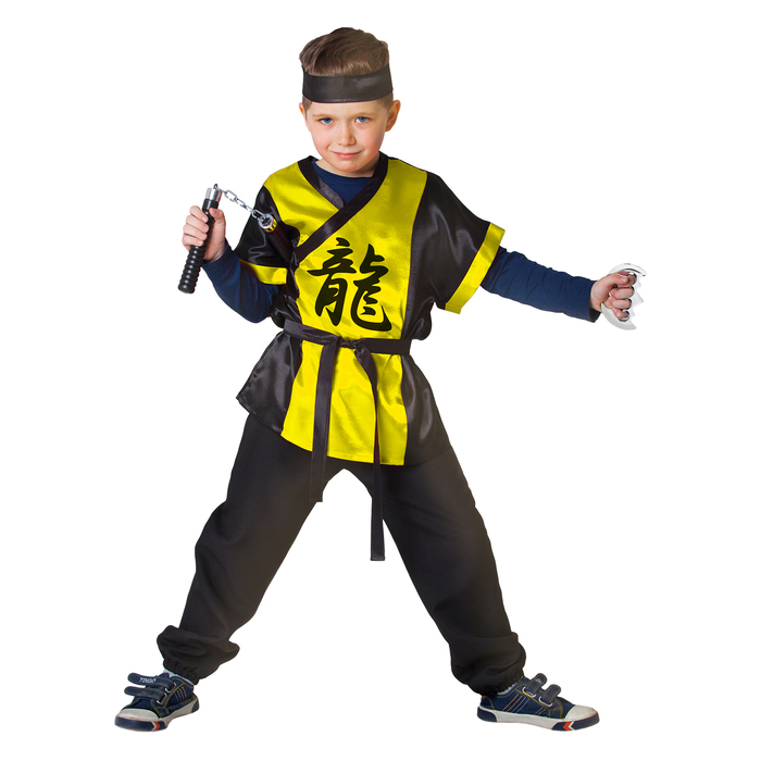"""Карнавальный костюм """"Ниндзя: Жёлтый дракон"""" с оружием, р-р 32, рост 122-128 см"""