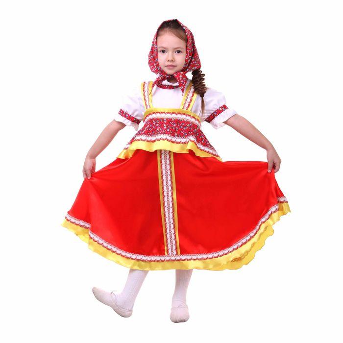 """Русский народный костюм """"Алёнушка"""", платье-сарафан, косынка, р-р 68, рост 134-140, цвет красный"""