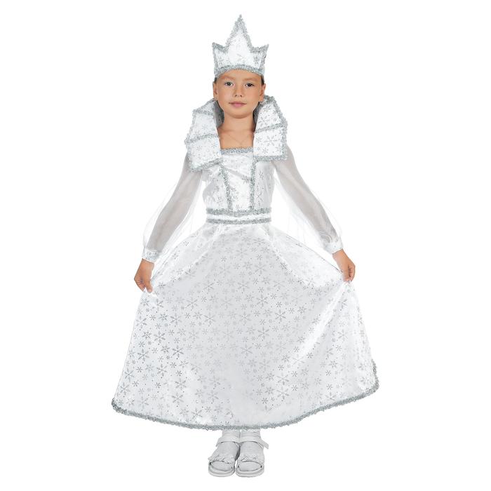 """Карнавальный костюм """"Снежная королева"""", платье, корона, р-р 30, рост 110-116 см"""