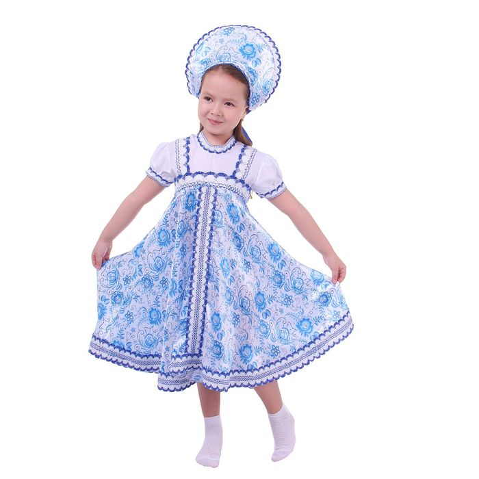 Русский народный костюм для девочки с кокошником, голубые узоры, р-р 36, рост 140 см