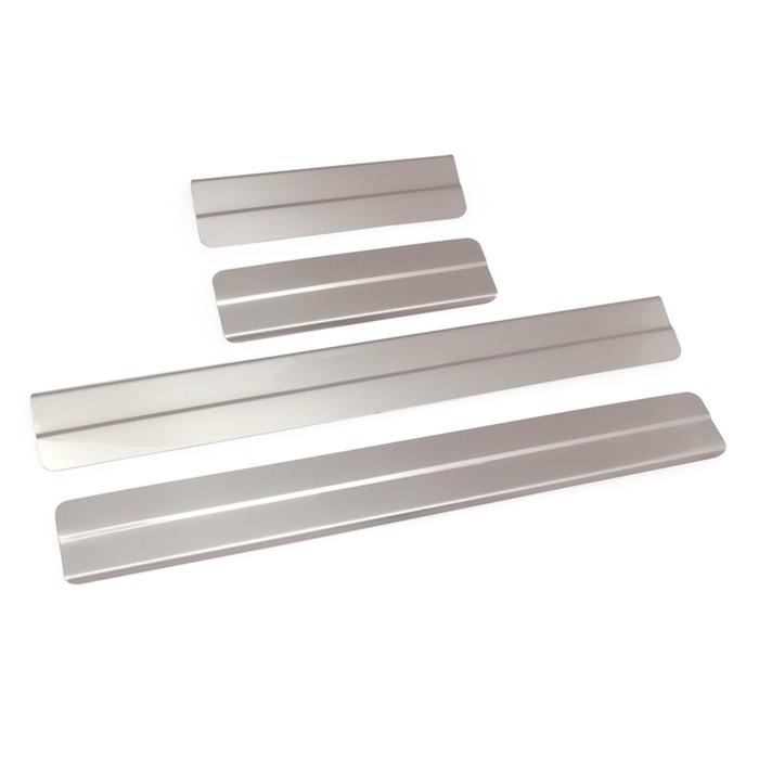 Накладки на пороги Dollex, Nissan Sentra, ступенчатые, нержавеющая сталь, набор 4 шт.