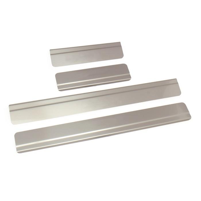 Накладки на пороги Dollex, Mitsubishi Outlander 2015- , ступенчатые, нержавеющая сталь, набор 4 шт.