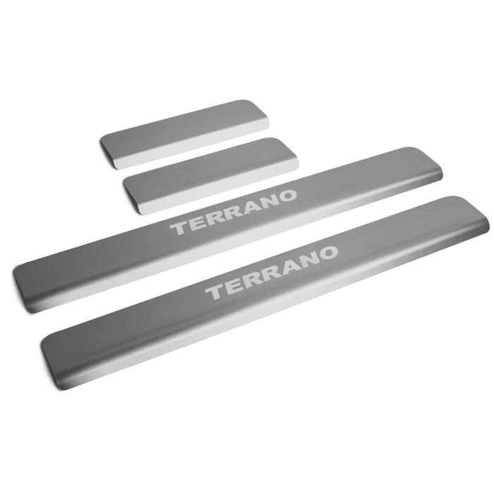Накладки на пороги Rival для Nissan Terrano III 2014-н.в., нерж. сталь, с надписью, 4 шт., NP.4115.3