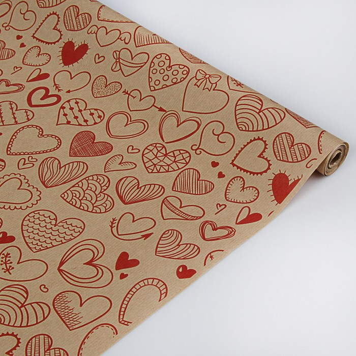 "Бумага упаковочная крафт ""Сердечки фигурные"", красный, 40 г/м2, 0,72 х 10 м"