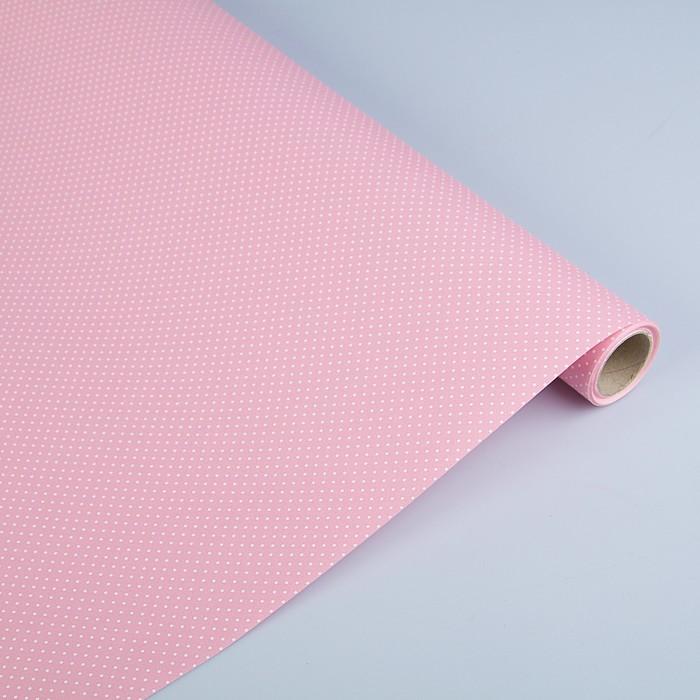 """Бумага двухсторонняя """"Горох на нежно розовом"""", 0,53 х 10 м"""