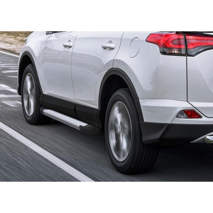 "Пороги алюминиевые ""Silver"" Rival для Toyota Rav4 IV (CA40) 2013-2015, 173 см, 2 шт., F173AL.5705.3"