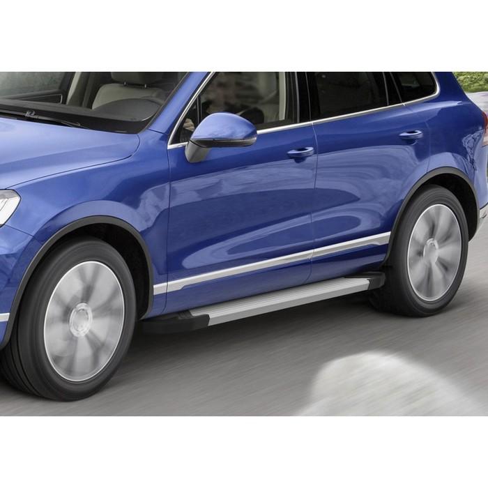 """Пороги алюминиевые """"Silver"""" Rival для Volkswagen Touareg II 2010-2018, 193 см, 2 шт., F193AL.5801.3"""