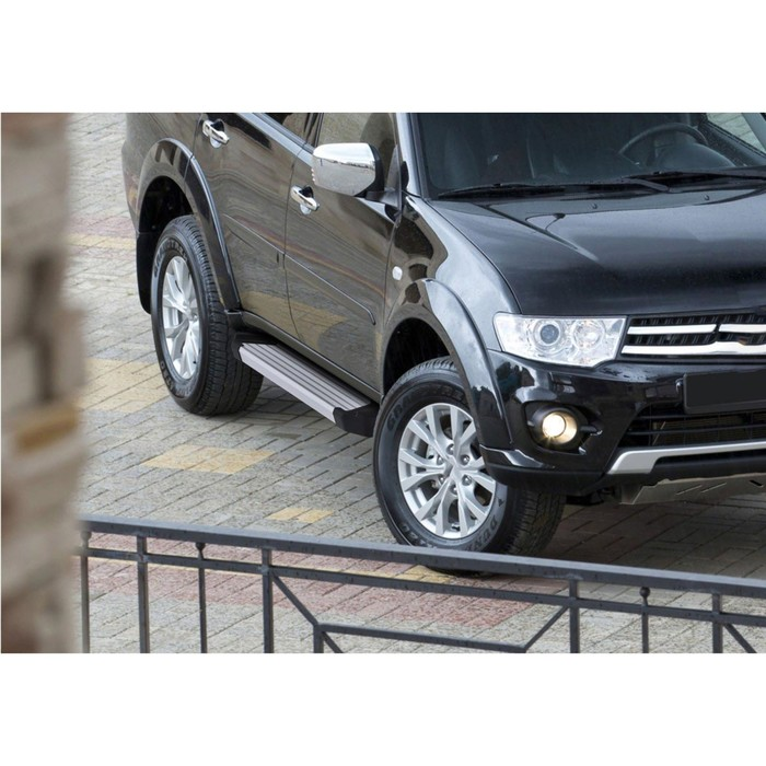 "Пороги алюминиевые ""Silver"" Rival для Mitsubishi Pajero Sport II 2008-2016, 173 см, 2 шт., F173AL.4003.1"