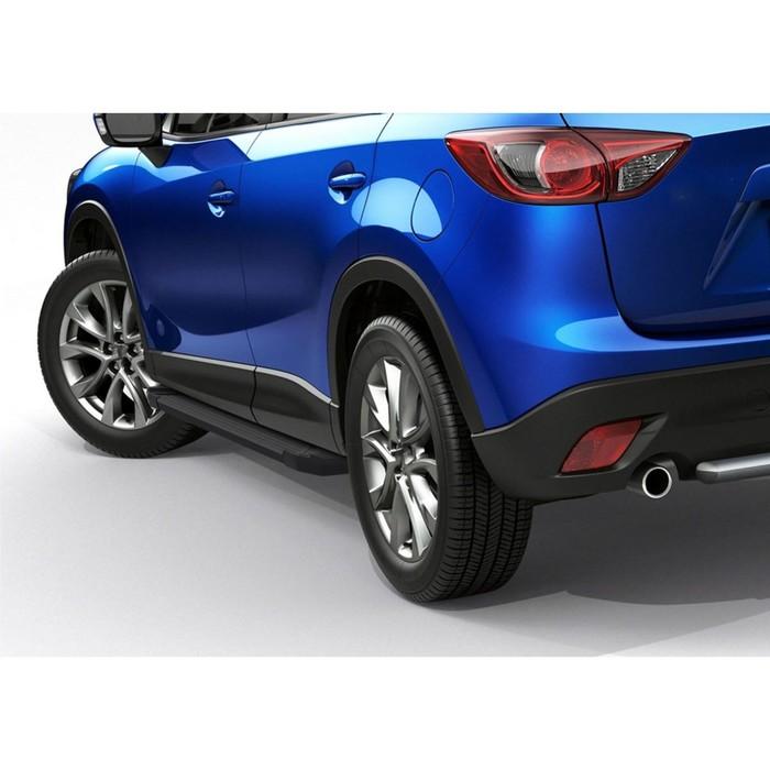 """Пороги алюминиевые """"Black"""" Rival для Mazda CX-5 I 2011-2017, 173 см, 2 шт., F173ALB.3801.3"""