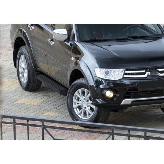 "Пороги алюминиевые ""Black"" Rival для Mitsubishi Pajero Sport II 2008-2016, 173 см, 2 шт., F173ALB.4003.1"