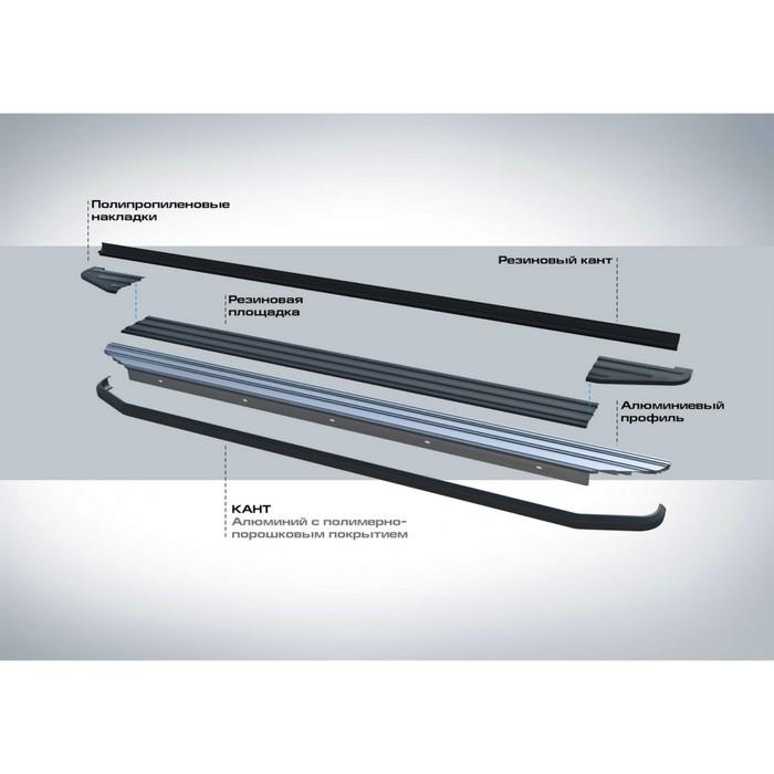 """Пороги алюминиевые """"Premium-Black"""" Rival для Mitsubishi Outlander II (ХL) 2007-2010 2010-2012, 173 см, 2 шт., A173ALB.4005.1"""