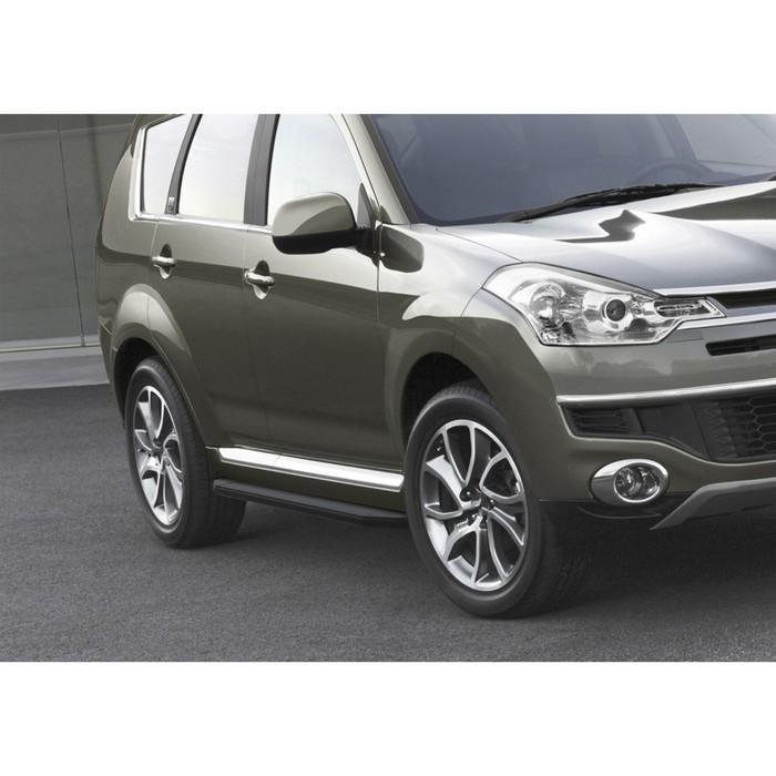 """Пороги алюминиевые """"Premium-Black"""" Rival для Peugeot 4007 2007-2013, 173 см, 2 шт., A173ALB.4005.1"""
