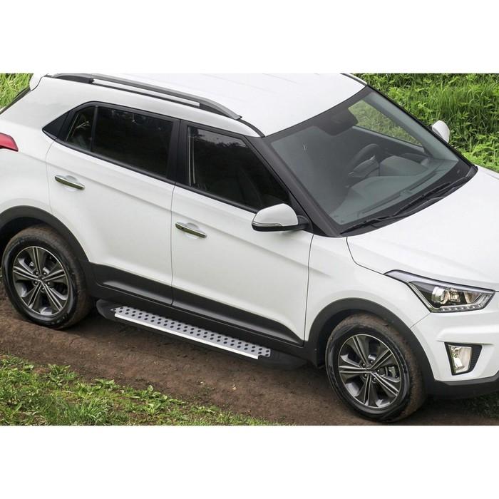 """Пороги алюминиевые """"Bmw-Style круги"""" Rival для Hyundai Creta 2016-н.в., 173 см, 2 шт., D173AL.2310.1"""