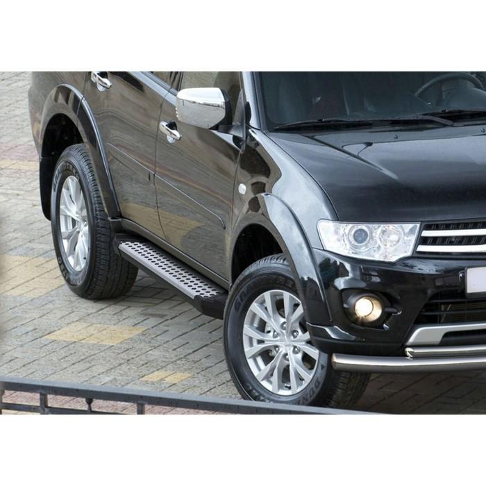 "Пороги алюминиевые ""Bmw-Style круги"" Rival для Mitsubishi Pajero Sport II 2008-2016, 173 см, 2 шт., D173AL.4003.1"