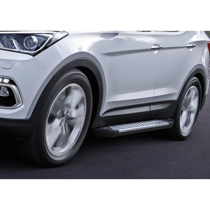 "Пороги алюминиевые ""Bmw-Style круги"" Rival для Hyundai Santa Fe III 2012-2018, 180 см, 2 шт., D180AL.2305.2"
