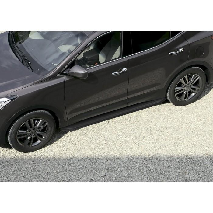 """Пороги алюминиевые """"Premium-Black"""" Rival для Hyundai Santa Fe II 2006-2012, 173 см, 2 шт., A173ALB.2302.1"""