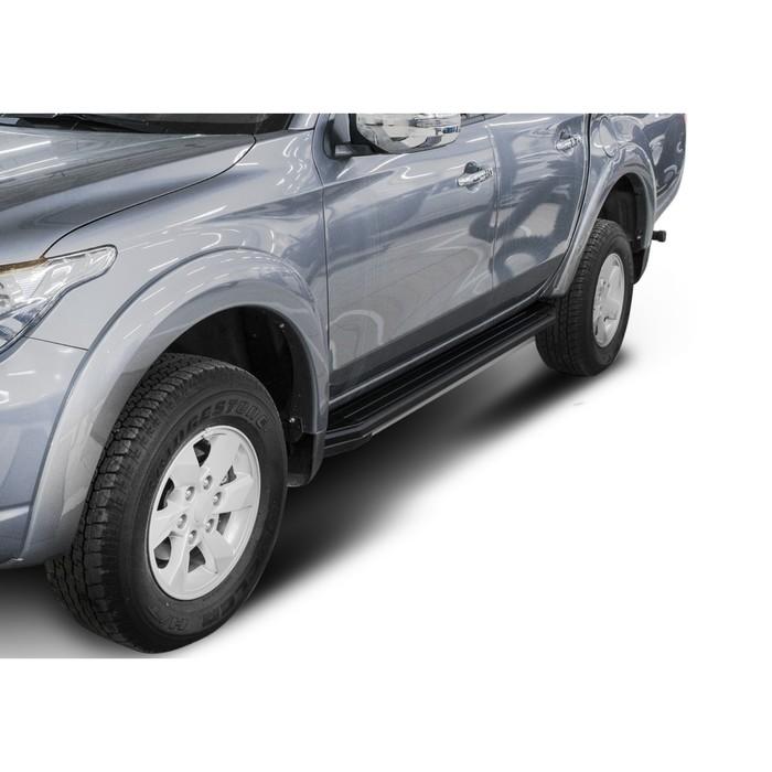 "Пороги алюминиевые ""Premium-Black"" Rival для Mitsubishi L200 IV, V 2006-2015 2015-2019 2019-н.в., 193 см, 2 шт., A193ALB.4003.1"