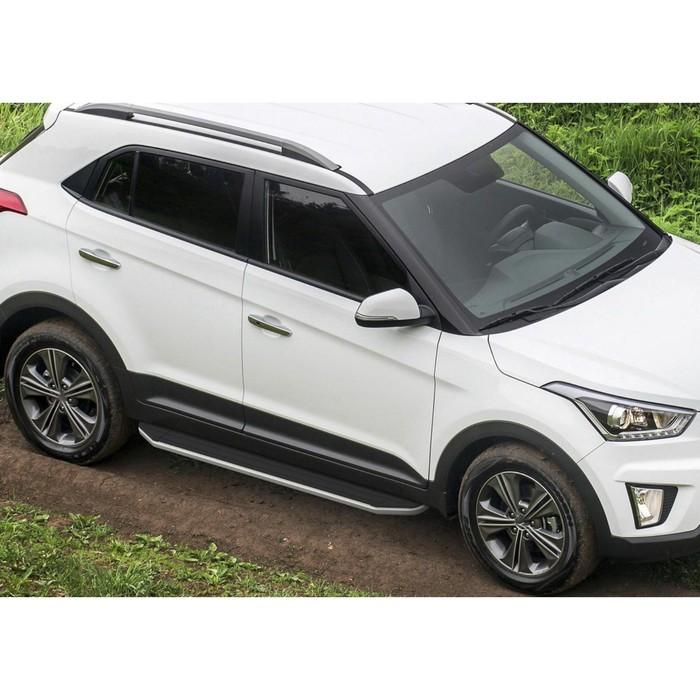 """Пороги алюминиевые """"Premium"""" Rival для Hyundai Creta 2016-н.в., 173 см, 2 шт., A173ALP.2310.1"""