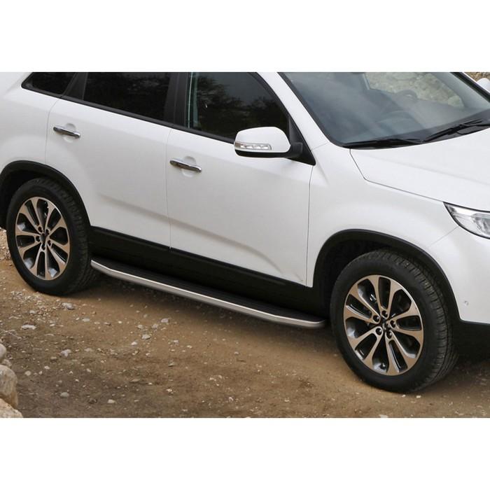 """Пороги алюминиевые """"Premium"""" Rival для Kia Sorento II рестайлинг 2012-н.в., 173 см, 2 шт., A173ALP.2305.2"""