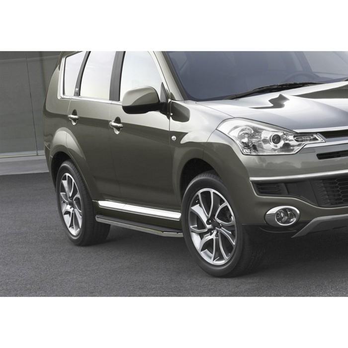 """Пороги алюминиевые """"Premium"""" Rival для Peugeot 4007 2007-2013, 173 см, 2 шт., A173ALP.4005.1"""