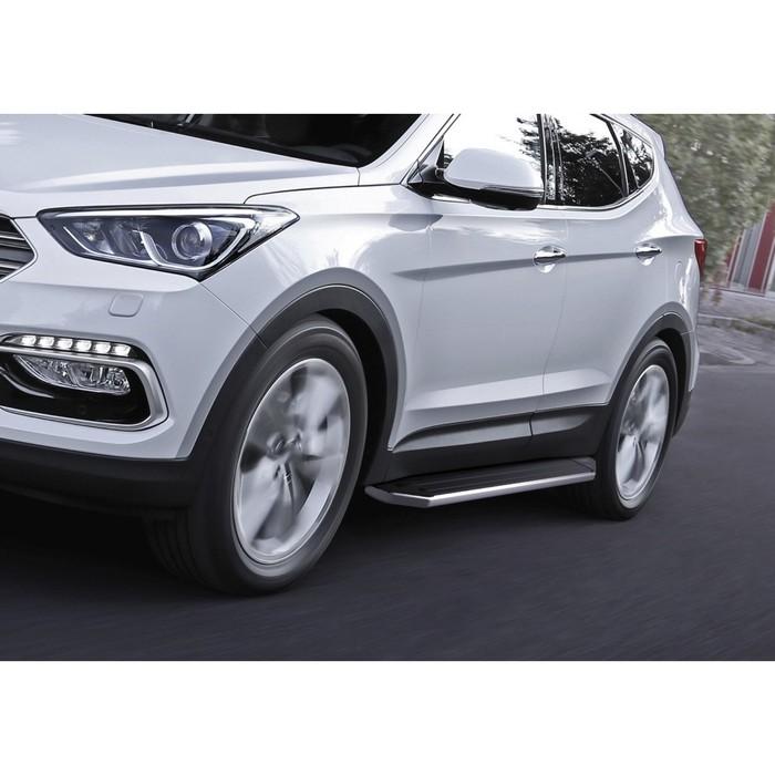 """Пороги алюминиевые """"Premium"""" Rival для Hyundai Santa Fe Premium 2015-2016, 180 см, 2 шт., A180ALP.2305.2"""