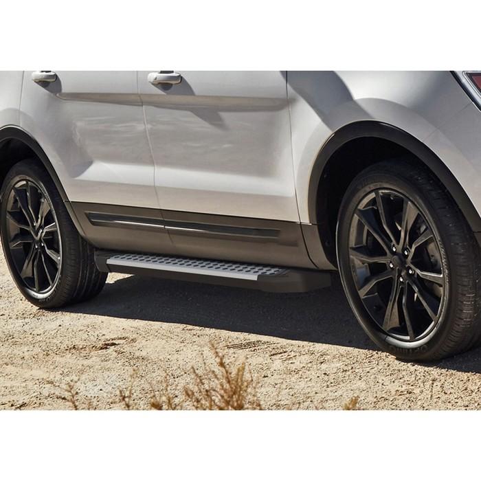 """Пороги алюминиевые """"Bmw-Style круги"""" Rival для Ford Explorer V 2011-2015 2015-2017 2017-н.в., 193 см, 2 шт., D193AL.1802.1"""