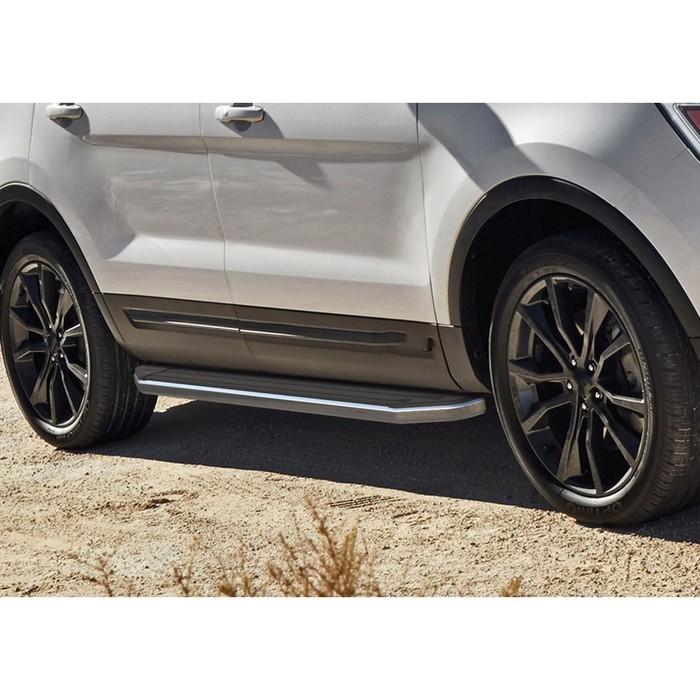 """Пороги алюминиевые """"Premium"""" Rival для Ford Explorer V 2011-2015 2015-2017 2017-н.в., 193 см, 2 шт., A193ALP.1802.1"""