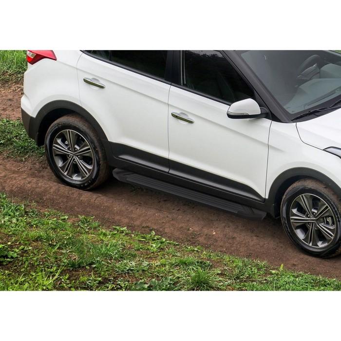 """Пороги алюминиевые """"Black"""" Rival для Hyundai Creta 2016-н.в., 173 см, 2 шт., F173ALB.2310.1"""
