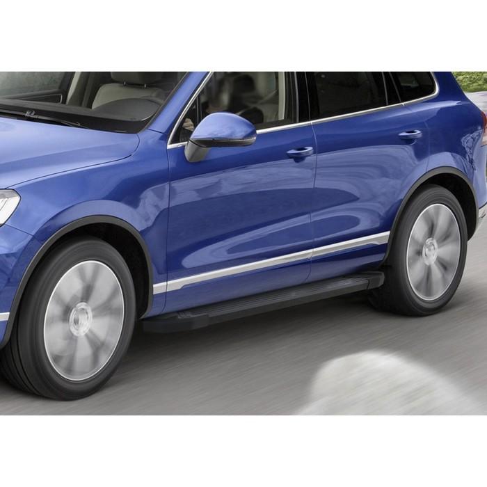 """Пороги алюминиевые """"Black"""" Rival для Volkswagen Touareg II 2010-2018, 193 см, 2 шт., F193ALB.5801.3"""