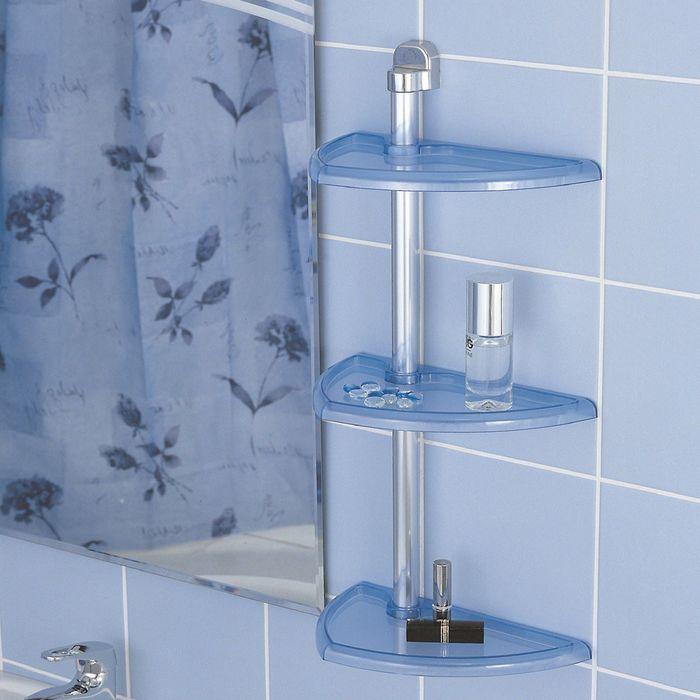 Полка для ванной настенная, 3 яруса, цвет прозрачно-голубой