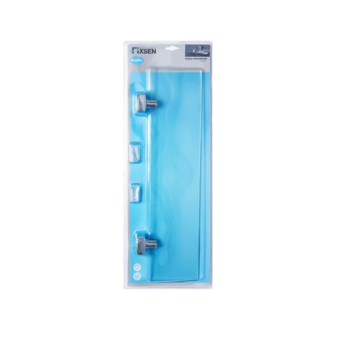 Полка Fixsen FX-61303, стеклянная, хром