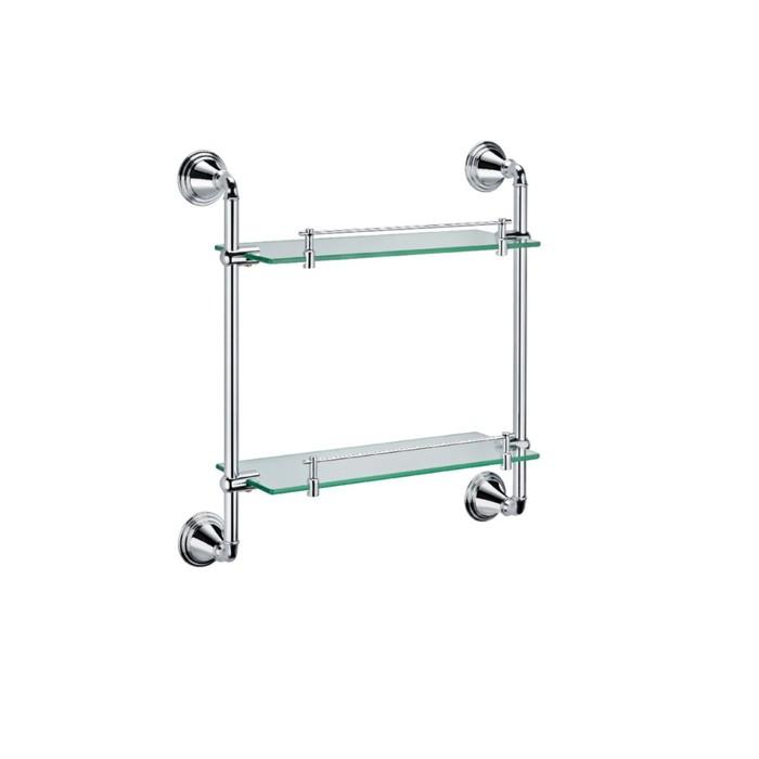 Полка Fixsen FX-71622, стеклянная, 2-х этажная, хром