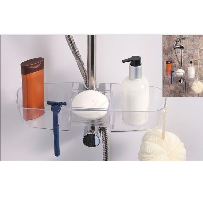 Полочка на душевую штангу для шампуней и ванных принадлежностей, нагрузка до 4 кг, цвет белый