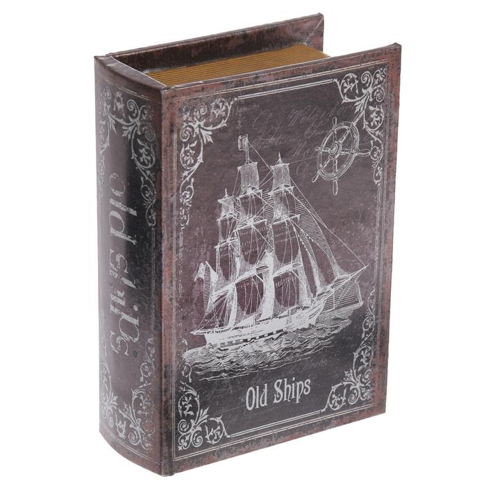 """Шкатулка-книга дерево """"Странствующий корабль"""" 16х11х4,5 см"""