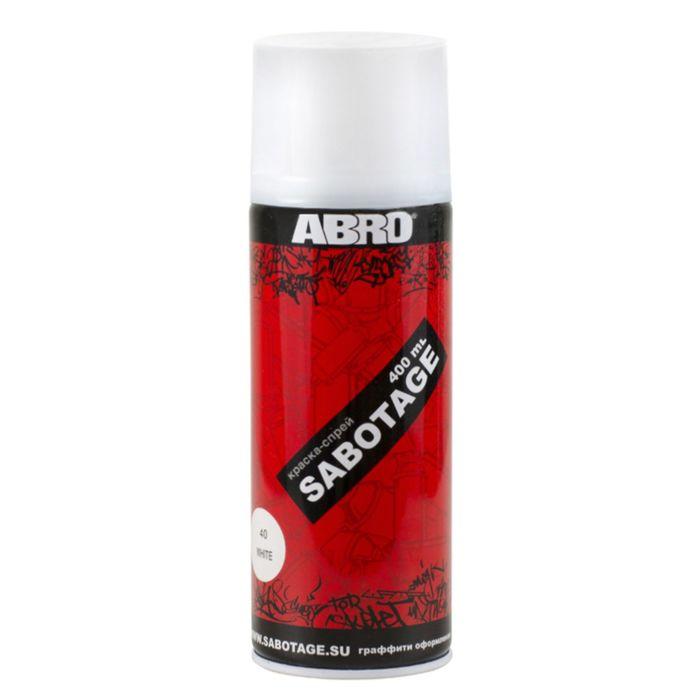 Краска-спрей ABRO SABOTAGE 40 белый, 400 мл SPG-040