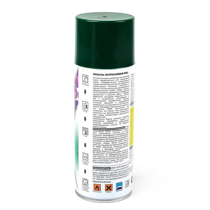 Эмаль акриловая VIXEN, лиственно-зеленый, RAL 6002, аэрозоль 520 мл
