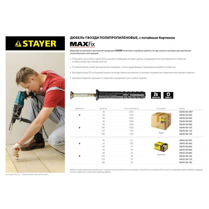 Дюбель-гвоздь STAYER Master, 6 x 80 мм, потайной бортик, полипропилен., в упаковке 1000 шт.   313351