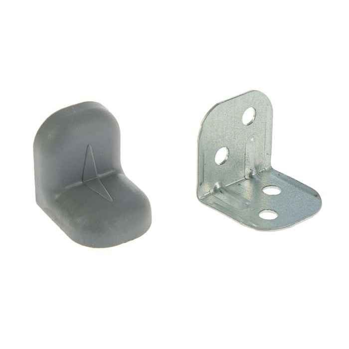 Уголок крепежный, с пластиковой крышкой, цвет металлик